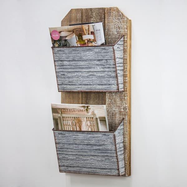 wood and metal wall hanging magazine rack