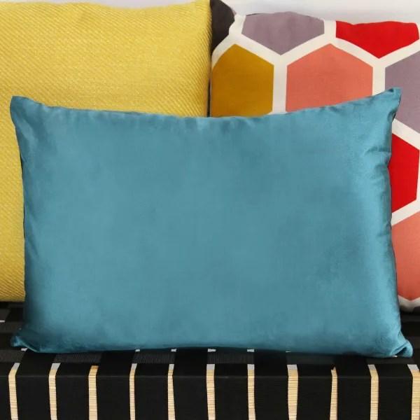 aqua teal velvet lumbar pillow
