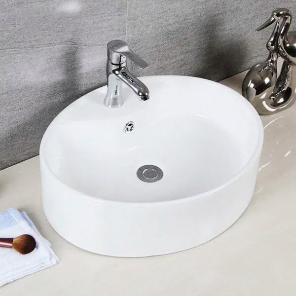 brook white porcelain ceramic bathroom vessel sink with overflow drain