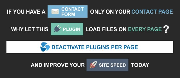 optimize site speed by disabling plugins on certain pages