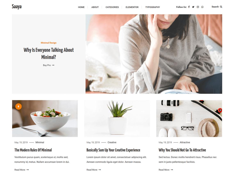 Saaya WordPress Theme