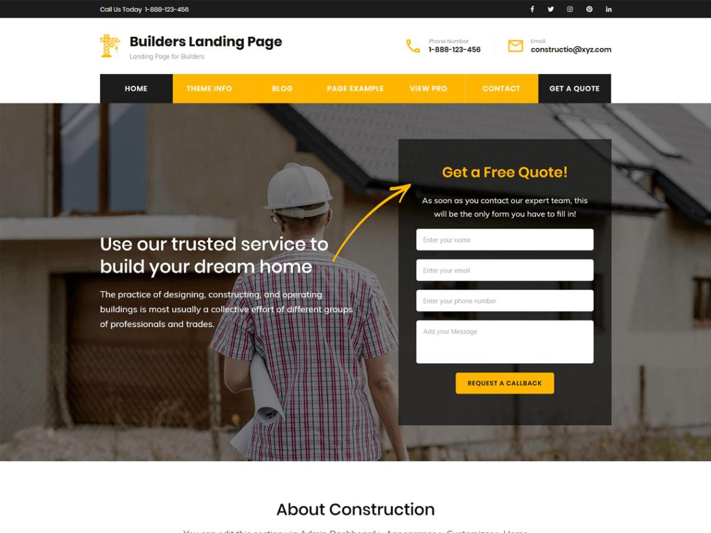 Builders Landing Page WordPress Theme