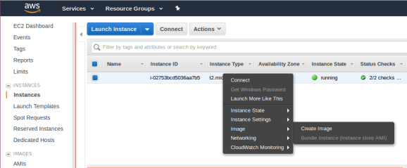 Locate Create Image in the menu of Instance Settings