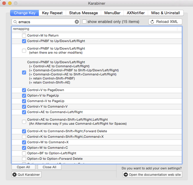 Emacs key mappings for Xamarin Studio on Mac