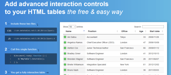 jQuery - Useful and amazing jQuery table plugins to use in ...