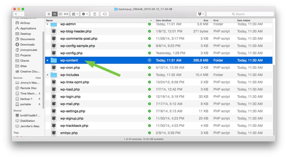 Image of backup up wp-content folder