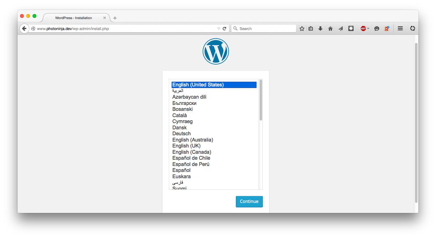 Install WordPress, language screen