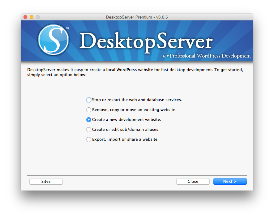 Desktop Server Create a new site