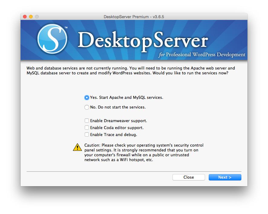 Desktop Server starting web services