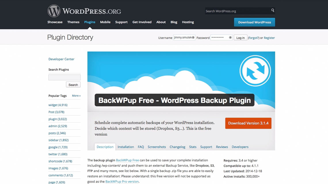 Image of backwpup plugin on the plugin directory