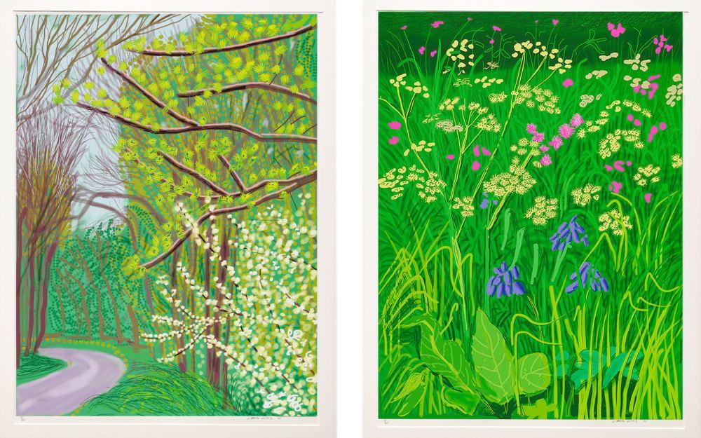 Gauche: David Hockney, L'arrivée du printemps à Woldgate, East Yorkshire en 2011, 17 mai 2011. À droite: L'arrivée du printemps à Woldgate, East Yorkshire en 2011 (vingt-onze) - 30 mai 2011. Avec l'aimable autorisation de Annely Juda Fine Art , Londres.