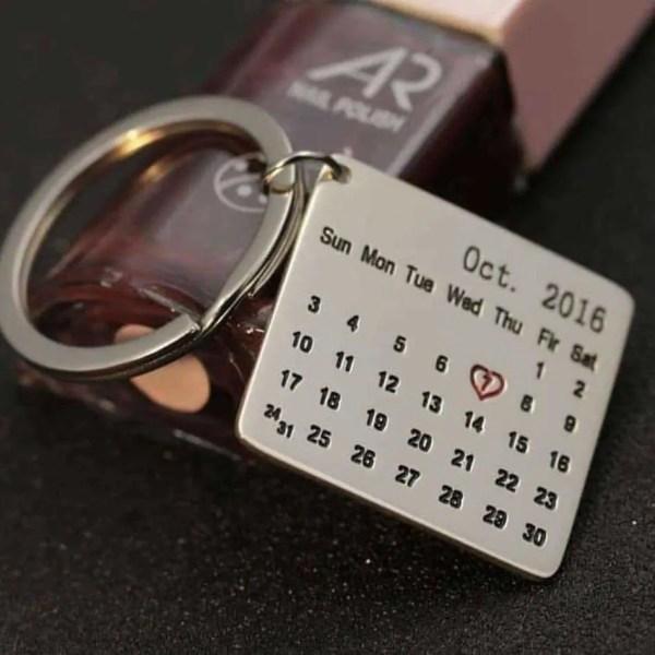 Customize Calendar Engraved Keychain