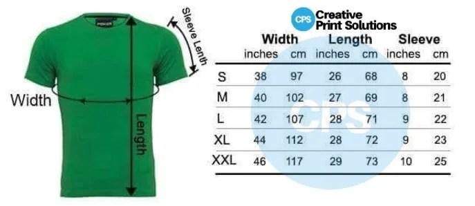 Customize T-SHIRT PRINTING SIZE CHART