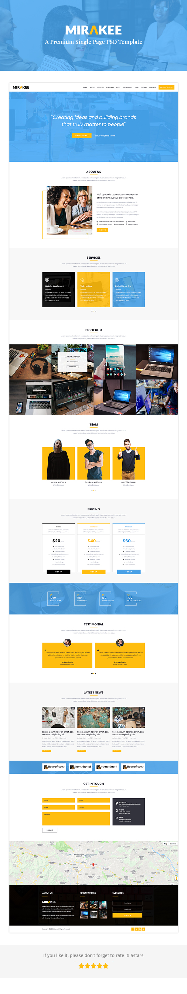 Mirakee – A Multipurpose Single Page PSD Template - 1