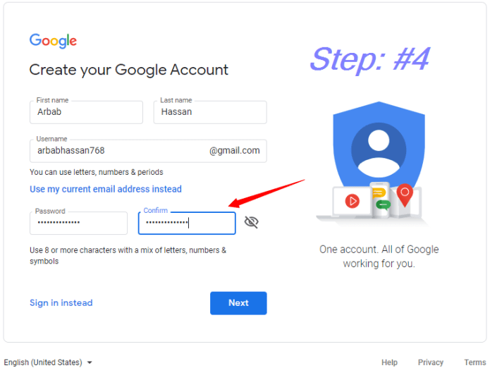 Create your password    how to create a Gmail Account