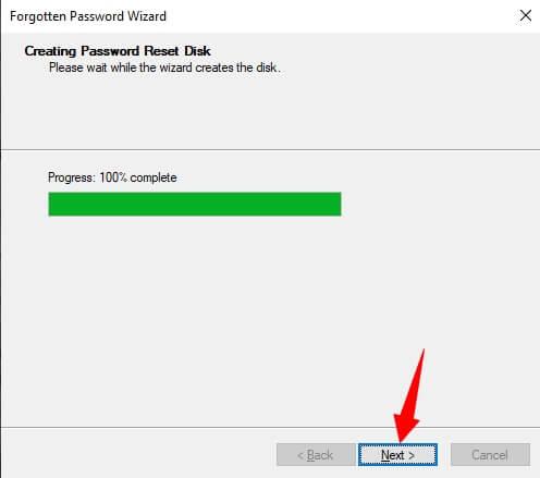 Click on next after progress bar reaches 100%