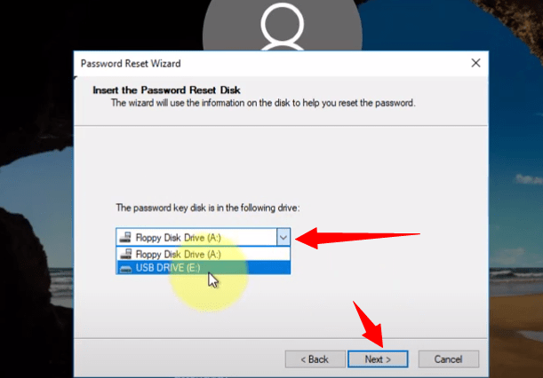 Select the drive from the drop-down