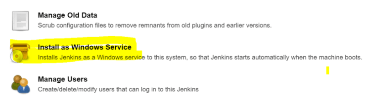 Install Jenkins as a Windows service