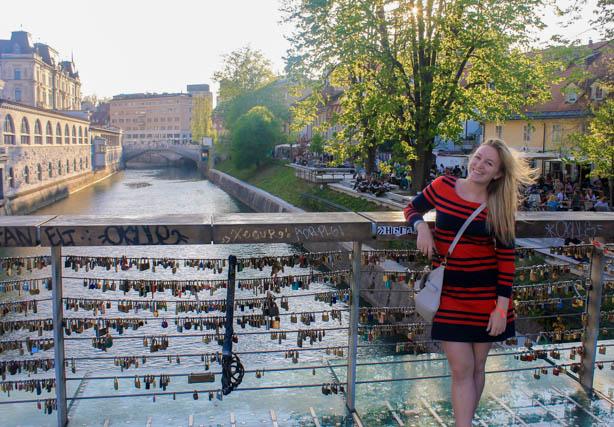 Bridge with love locks in Ljubljana