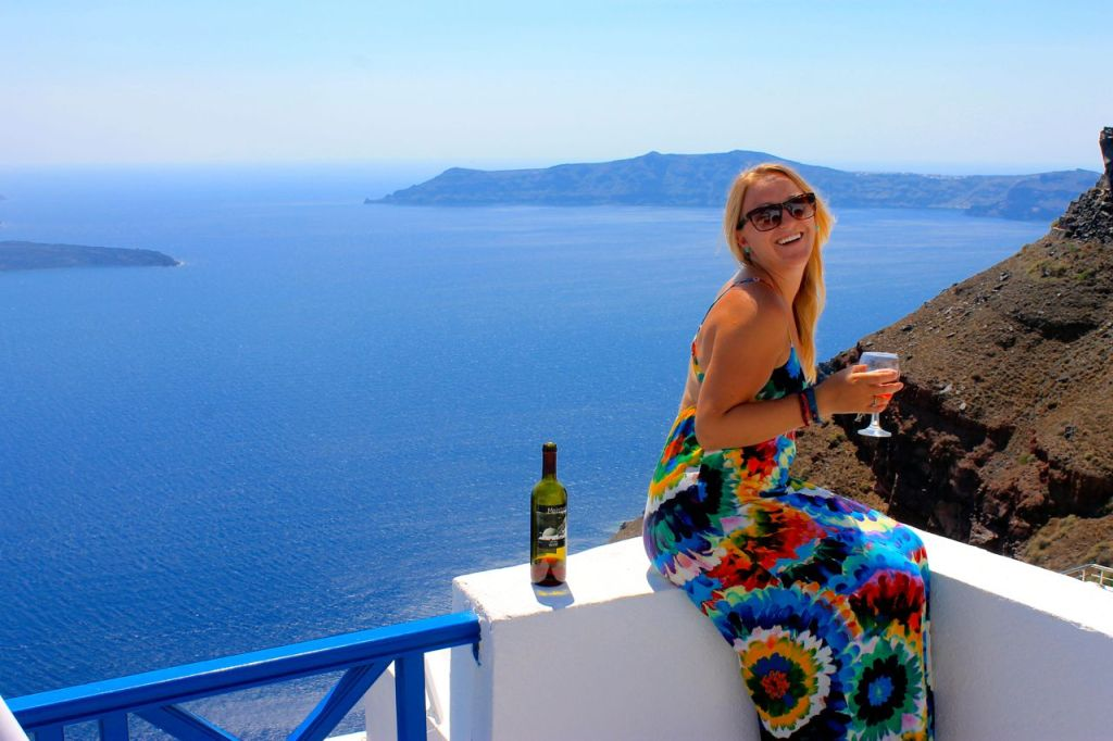 Wine and laughter in Santorini, Greece