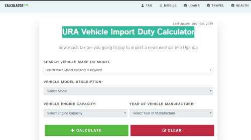 Calculator.co.ug URA Vehicle Import Duty Calculator