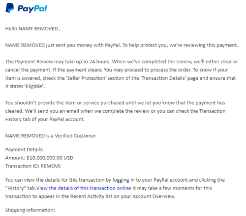 PayPal payment review email