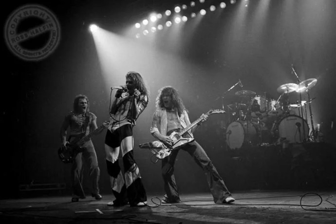 Van Halen live, from UK 1978-79 tours. Photo by Ross Halfin, courtesy of Van Halen News Desk (www.vhnd.com).