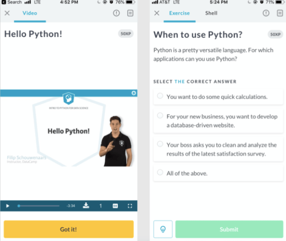 DataCamp's New Mobile Coding Courses are Optimized for Learning On the Go