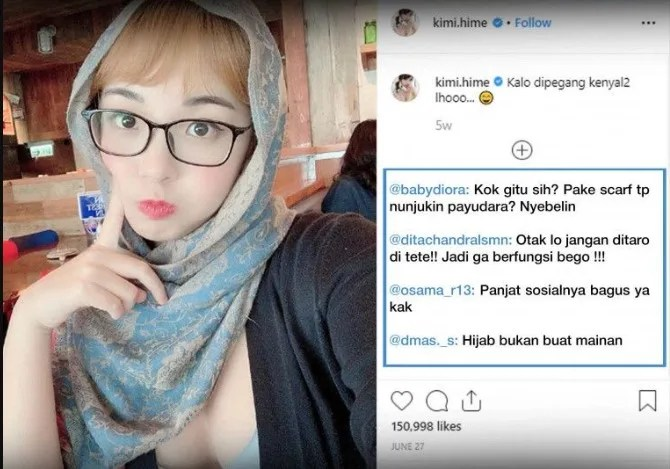 Kimi Hime pakai hijab