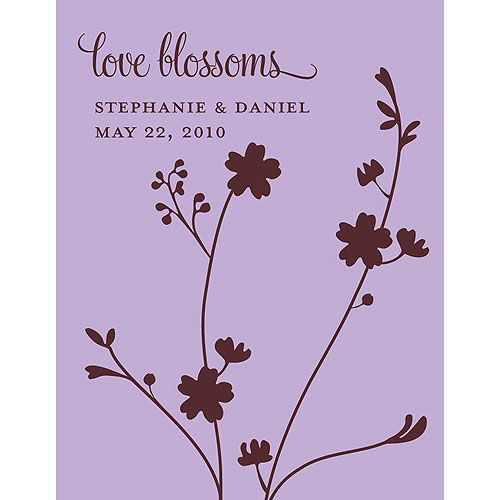 Seed Paper Love Blossoms Personalized Favor Card Lavender