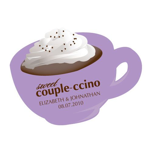 """Sweet """"Couple-ccino"""" Shaped Sticker Lavender"""