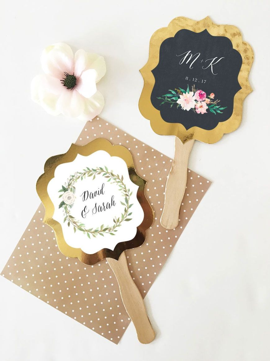 EB3204GDN-Personalized Floral Garden Gold Paddle Fans