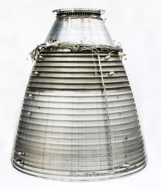 The Vulcain 2.1 rocket nozzle, which reduced the part count from about 1,000 to just 100. (Image courtesy of GKN.)