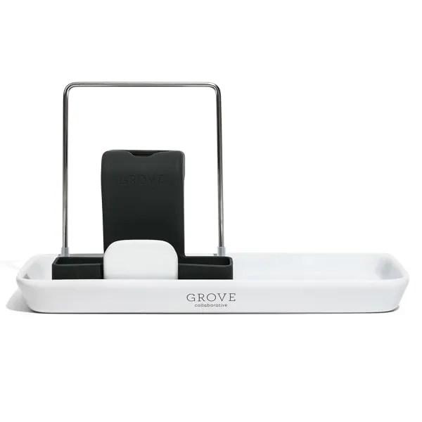 sink caddy modern stoneware tray set