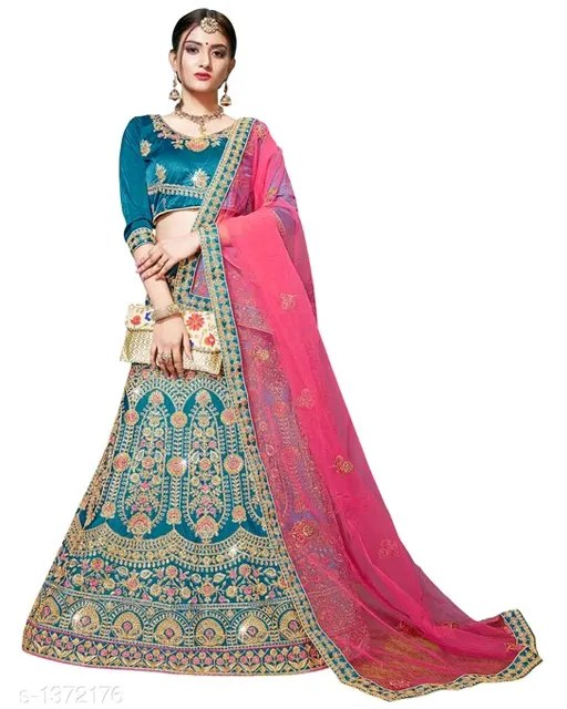 Viruskha Heavy Embroidered Satin Silk Lehengas (2)