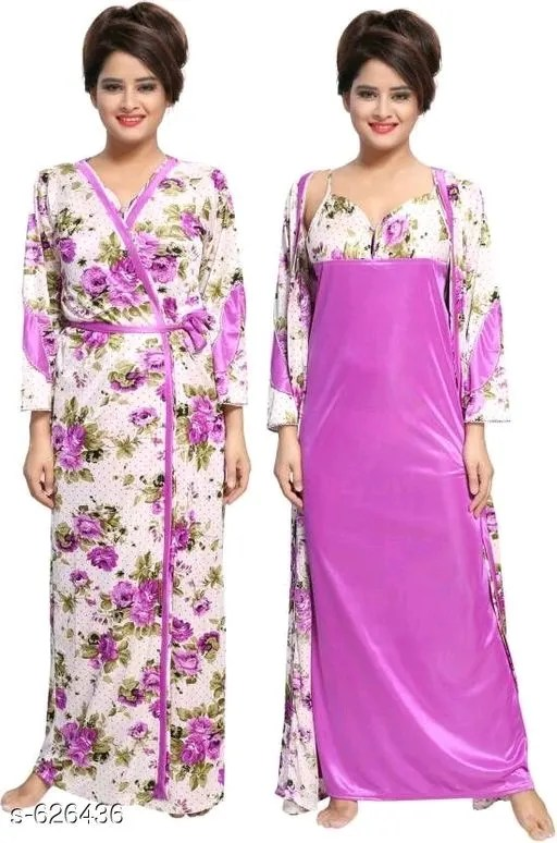 Ladies Satin Solid Nighty Vol 2