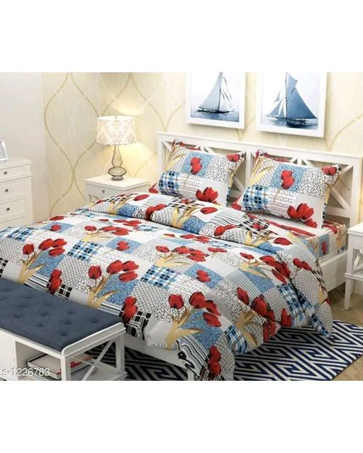 Smart Buy Colorful Beautiful 3D Printed Double Bedsheets Vol 1 (8)