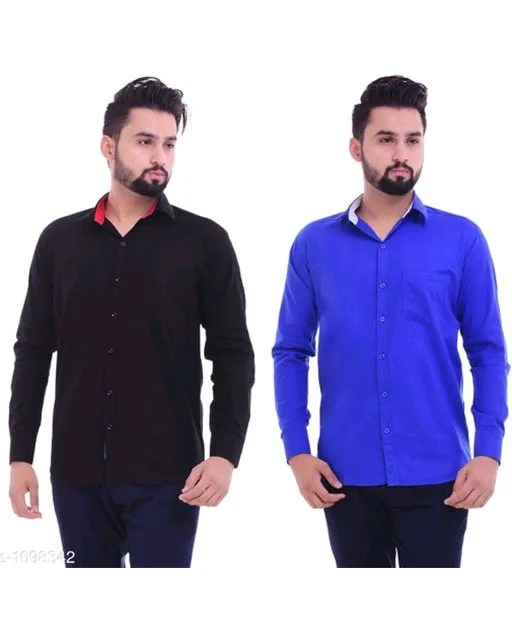 Men's Trendy Cotton Solid Shirts Combo (1)