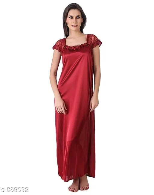 Women's Trendy Satin Lace Work Nighties Vol 1