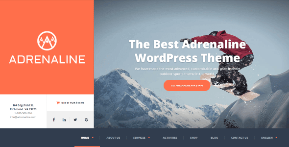Adrenaline Sports Activities Wordpress Theme Free Download