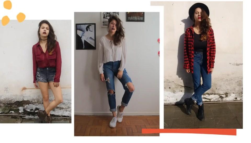 Montagem com fundo branco e três fotos. Na lateral superior esquerda, três bolas amarelas para decorar. Já na inferior esquerda, um traço laranja decora. Na primeira foto, à esquerda, Marcie posa em frente a uma parede branca com a parte de baixo descascada. A pose é os dois braços para baixo, com a perna direita inclinada e o rosto olhando para a câmera levemente inclinado para cima. Ela usa short jeans cinza, camisa bordô e coturno marrom. Na segunda foto, a mesma pose, em uma parede branca com quadros na parede. Ela usa uma calça jeans rasgada nos joelhos e coxa, blusa branca cropped de mangas longas bufantes e tênis branco. Na terceira foto, a mesma pose, em uma parede branca com limo na parte de baixo. Usa mom jeans azul com a barra dobrada, coturno, blusa preta cropped, camisa de flanela vermelha xadrez aberta e um chapéu preto.