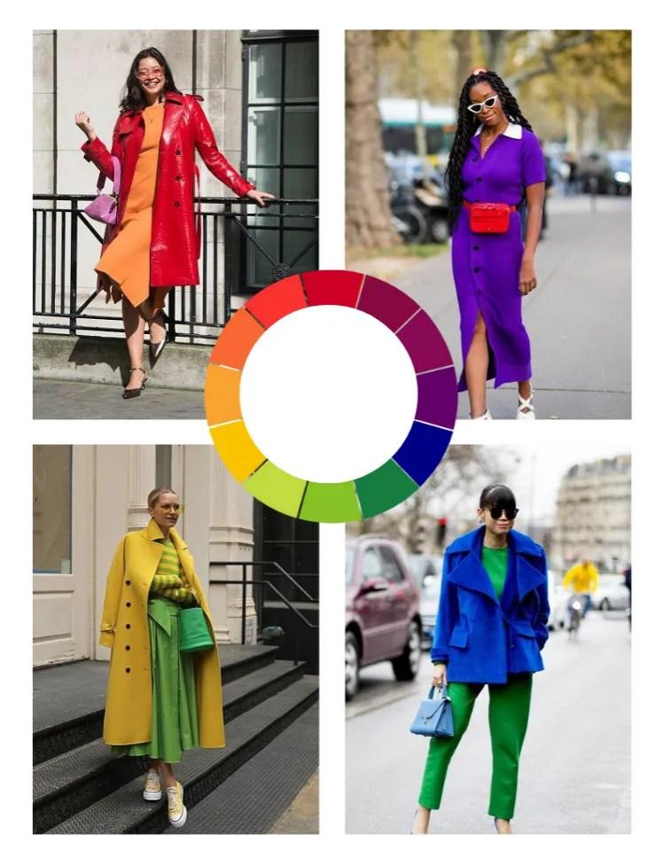 Montagem vertical com fundo branco e quatro fotos lado a lado em duplas, duas em cima duas embaixo. No meio da montagem e unindo todas elas, está um círculo cromático com 12 cores (vermelho, vermelho-arroxeado, azul-arroxeado.roxo, azul, azul-esverdeado, verde, amarelo-esverdeado, amarelo, amarelo-alaranjado, laranja, vermelho-alaranjado). Foto 1 (cima, à esquerda: uma mulher sorri em frente a um prédio, escorada em uma grande preta. O look é composto por vestido mídi laranja, sobretudo de couro vermelho, bolsa pink e scarpin preto. Foto 2 (cima, à direita): uma mulher posa em uma calçada cinza, com carros estacionados desfocados ao fundo. O look é composto por vestido com botões frontais roxo de mangas curtas e pochete vermelha na cintura. Foto 3 (baixo, à esquerda): uma mulher posa em uma fachada de prédio branca, pisando em dois degraus pretos da escada de 4 degraus. O look é composto por óculos escuros amarelos, blusa listrada horizontalmente em verde e amarelo, saia mídi rodada verde, all star amarelo de cano baixo e sobretudo amarelo de lã batida. Foto 4 (baixo, à direita): Uma mulher posa em uma calçada cinza, com carros desfocados ao fundo. O look é composto por calça de alfaiataria verde, blusa verde no mesmo tom, casaco com lapelas largas azul royal e bolsa azul céu.