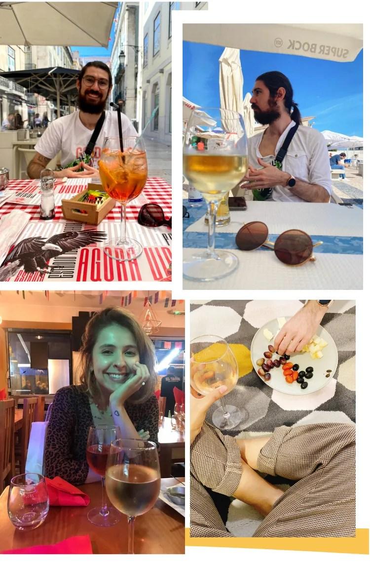 Montagem vertical com fundo branco e quatro fotos, dispostas duas em cima, duas embaixo. Foto 1 (em cima, à esquerda): Ícaro sorri em uma mesa de bar, com toalha vermelha na mesa. Em primeiro plano está uma taça com Apperol Spritz, drinque laranja, com gelo. Foto 2: Ícaro está em segundo plano em uma praia. Em primeiro, está uma taça de vinho branco e um óculos escuro redondo marrom. Foto 3 (embaixo, à esquerda): Marcie sorri com a mão embaixo do queixo, em segundo plano. Em primeiro plano está uma taça de vinho branco. Foto 4 (embaixo, à direita): um tapete com estampa de losangos em tons de amarelo, rosa e cinza. Em cima dele está um prato de cerâmica cinza, com queijos fatiados, uvas, tomates cereja e azeitonas, além de uma taça de vinho rosé.