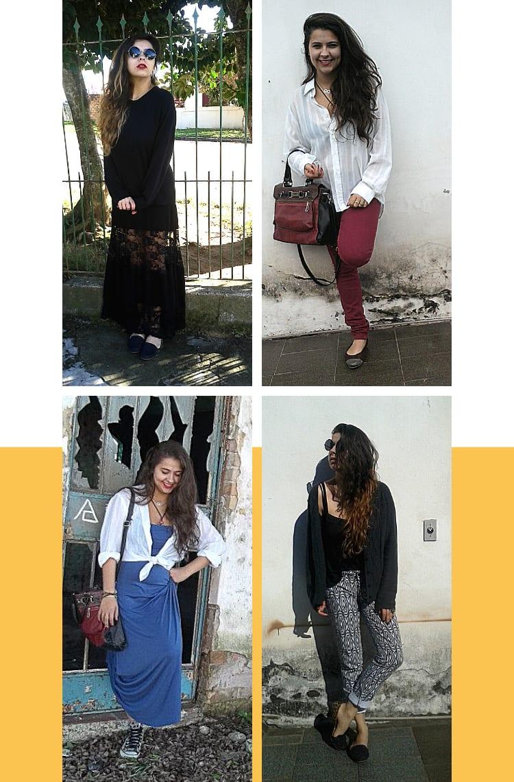 Montagem com fundo branco e quatro fotos, dispostas em dupla, uma em cima e outra embaixo. Foto 1 (em cima, à esquerda): Marcie posa em frente a um portão verde de grade. O look é composto por óculos redondo, blusão preto de lã e saia longa com detalhes transparentes em renda preta. Foto 2 (em cima, à direita): Marcie posa em frente a uma parede cinza. O look é composto por camisa branca, calça skinny bordô e sapatilha marrom com ponta de glitter cinza. Foto 3 (embaixo, à esquerda): Marcie posa em frente a uma porta azul com os vidros quebrados. O look é composto por vestido azul sem alças longo, all star botinha cinza com estampa de corações pretos e camisa branca usada com nó na cintura. Foto 4 (embaixo, à direita): Marcie posa em frente a uma parede branca com mofo. O look é composto por regata preta, calça branca com estampa de losangos, cardigã cinza e slipper preto.