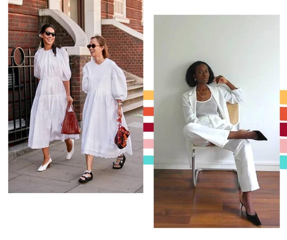 Montagem com fundo branco com duas fotos lado a lado. A primeira foto, à esquerda, mostra duas mulheres caminhando lado a lado em uma calçada em frente a uma parede de tijolos vermelhos. A primeira usa um vestido branco mídi solto com mangas bufantes, scarpin branco, bolsa de couro vermelha. A segunda mulher está sentada em uma cadeira de palha com as pernas cruzadas. O look é composto por camiseta branca, terno branco e mule preta.