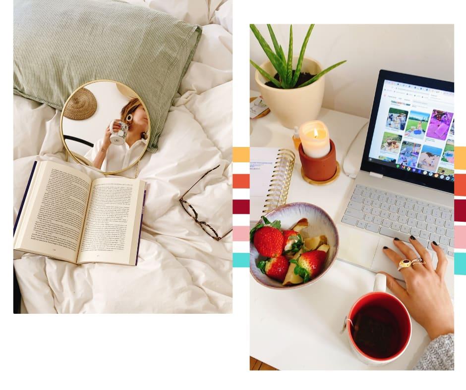 Montagem com duas fotos dispostas lado a lado em um fundo branco com listras coloridas ao fundo. Foto 1 (à esquerda): uma coberta fofa está com um travesseiro com fronha listrada verde e branco, espelho redondo pequeno com moldura dourada e Marcie ao fundo com uma caneca branca na mão), um livro aberto em cima da cama e óculos de grau com estampa de tartaruga. Foto 2 (à direita): uma mesa branca está com um notebook cinza ao centro, uma mão com ungas pretas pintadas e anel no mousepad, vela acesa, planta aloe vera ao fundo e uma tigela de morangos rosa.