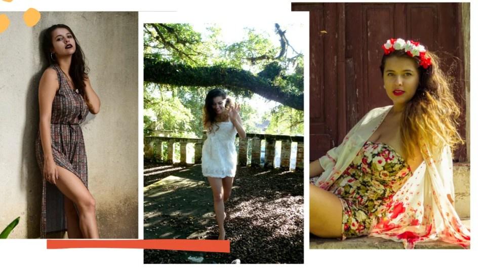 Montagem com fundo branco e três fotos. Na lateral inferior esquerda, um traço laranja decora. Já na lateral superior esquerda, duas bolas amarelas também são decoração, sobrepostas à primeira imagem. Na primeira foto, Marcie está escorada em uma parede bege, com a mão direita no cabelo e a perna esquerda para a frente. Usa um vestido mídi com fenda generosa até a coxa, com tons terrosos e estampa étnica. Na segunda foto, Marcie está em um grande jardim, é possível ver as folhas secas caídas e um grande galho de árvore repleto de folhas verdes. Marcie está no centro, caminhando com a mão direita para cima e sorrindo. Veste um vestido branco curto com tiras finas e textura floral. Na terceira foto, Marcie está sentada de lado, com uma das mãos no chão. Veste um macaquinho floral com fundo escuro e flores vermelhas, brancas e verdes, um quimono branco com flores vermelhas e rosas na parte de baixo e uma guirlanda de flores brancas e vermelhas no cabelo.