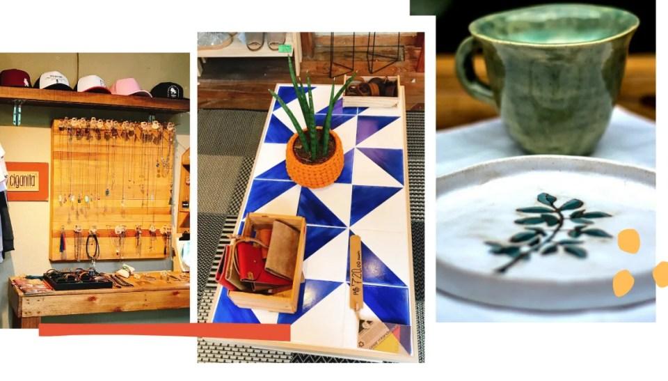 Montagem com três fotos, fundo branco. Na lateral inferior direita, três bolinhas amarelas decoram. Na lateral esquerda, um traço laranja queimado. A primeira foto da montagem, à esquerda, traz uma parede cinza com um suporte de madeira repleto de colares e pulseiras com pedras. Abaixo do painel, uma mesa, também de madeira, traz anéis e pulseiras de metal. Na foto do meio, uma mesa de madeira com azulejos metade azul royal, metade branco. Em cima da mesa, está uma etiqueta de preço R$720, uma caixa com carteiras de couro e um cachepô laranja de crochê com uma babosa dentro. Na terceira foto, à direita, uma xícara de cerâmica verde e um prato de cerâmica branco com desenho de planta verde em alto relevo estão em cima de uma mesa branca.