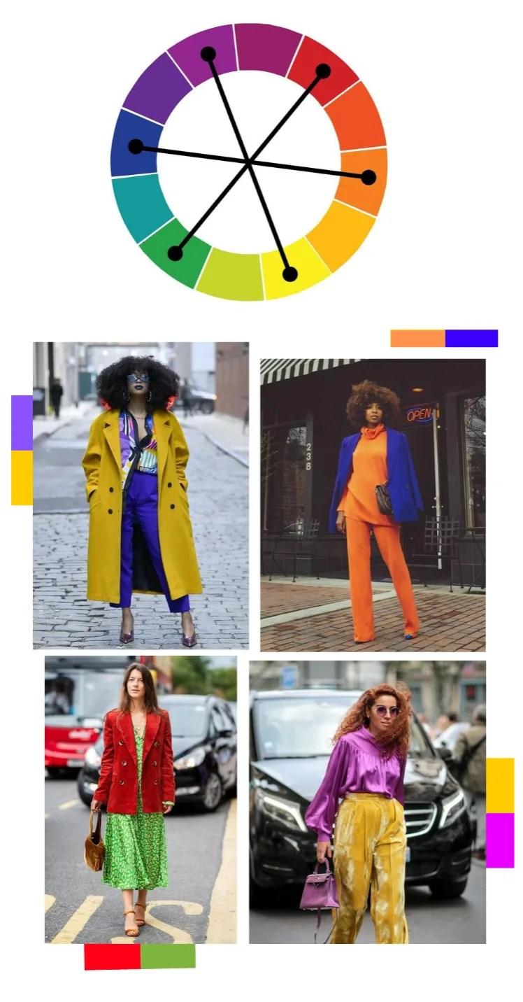 Montagem vertical com o círculo cromático, formado pelas cores azul, roxo, violeta, bordô, vermelho, laranja avermelhado, laranja, laranja amarelado, amarelo, verde limão, verde escuro, azul esverdeado. Três linhas transversais pretas ligam as seguintes cores: vermelho e verde, amarelo e roxo, laranja e azul (as chamadas cores complementares, que se encontram em lados opostos do círculo. Logo abaixo do círculo, estão quatro fotos de street style, dispostas em dupla lado a lado, duas em cima, duas embaixo. Foto 1 (em cima, alinhada à esquerda): Uma mulher posa em frente a uma rua vazia, com as mãos nos bolsos. O look é composto por camisa estampada em tons de roxo, branco e amarelo, calça de alfaiataria ajustada com barra curta. scarpin metalizado em tom de roxo e sobretudo com lapelas largas mostarda usado aberto. Foto 2 (em cima, alinhada à direita): Uma mulher está parada em frente a um estabelecimento marrom, com toldo listrado em p&b e um neon escrto open em vermelho ee azul. O look é composto por blusa de gola boba laranja de mangas longas, calça pantalona laranja, scarpin laranja e um blazer azul usado nos ombros. Foto 3 (embaixo, alinhada à esquerda): uma mulher caminha em uma rua movimentada de carros. O look é composto por vestido mídi fluído verde limão com estampas brancas abstratas. blazer vermelho de veludo cotelê e bolsa marrom peluda. Foto 4 (alinhada à direita, embaixo): uma mulher caminha em uma rua movimentada. O look é composto por blusa de cetim com mangas bufantes e gola alta violeta, calça pantalona de cintura alta mostarda de veludo e bolsa roxa de mão.