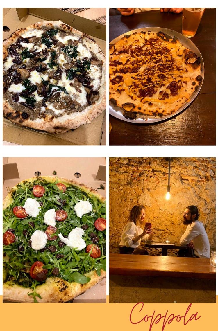 """Montagem vertical com fundo branco e quatro fotos dispostas em duplas, uma em cima, outra embaixo. Foto 1 (em cima, à esquerda): uma pizza napolitana de cogumelos, espinafre e queijo está inteira em cima de uma caixa de pizza de papelão. Foto 2 (em cima, à direita): uma pizza de jaca desfiada com mussarela cremosa vegana está em uma forma de alumínio prateada, em uma mesa de madeira escura. Ao seu lado, está um copo de vidro de chopp. Foto 3 (embaixo, à esquerda): uma pizza napolitana de rúcula, espinafre, tomate cereja e ricota está em uma caixa de pizza de papelão. Foto 4 (embaixo, à direita): Marcie e Ícaro estão se fotografando em frente a um espelho, sentados em bancos de madeira, com uma mesa de madeira entre eles. Os dois usam partes de cima brancas e olham para a câmera. Do teto, bem no meio deles, está uma lâmpada acesa amarelada. Logo abaixo das fotos está o texto """"Coppola"""", escrito em fonte cursiva bordô, por cima de uma linha amarela."""